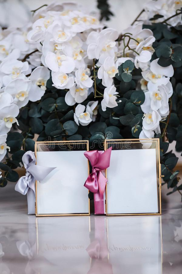 Beautiful frames and other Christmas details in decorated room royalty free stock image