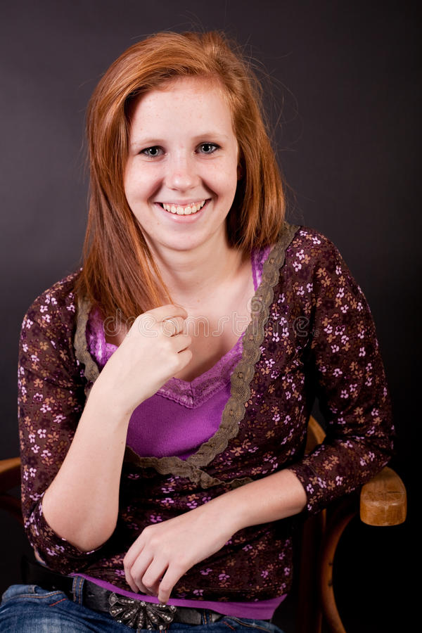 Beautiful freckled teen gir stock image