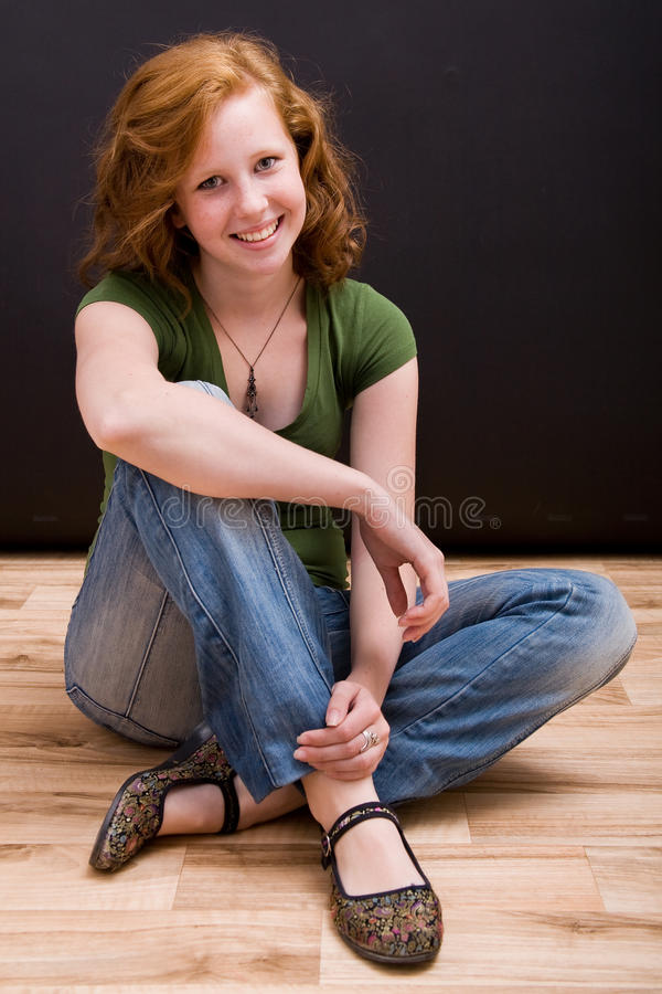 Beautiful freckled teen girl royalty free stock images