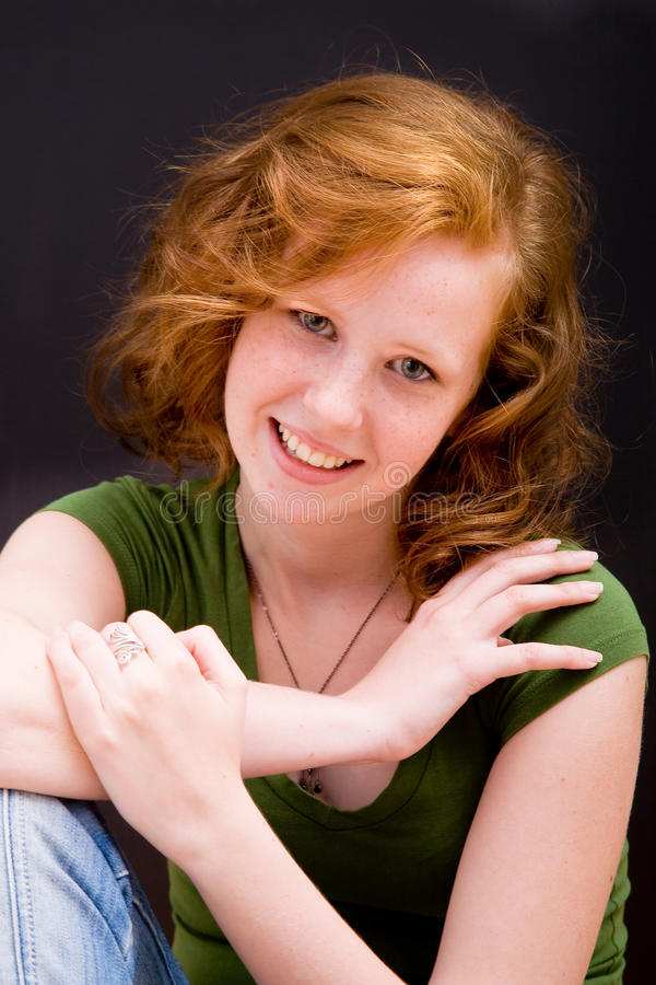 Beautiful freckled teen girl stock images