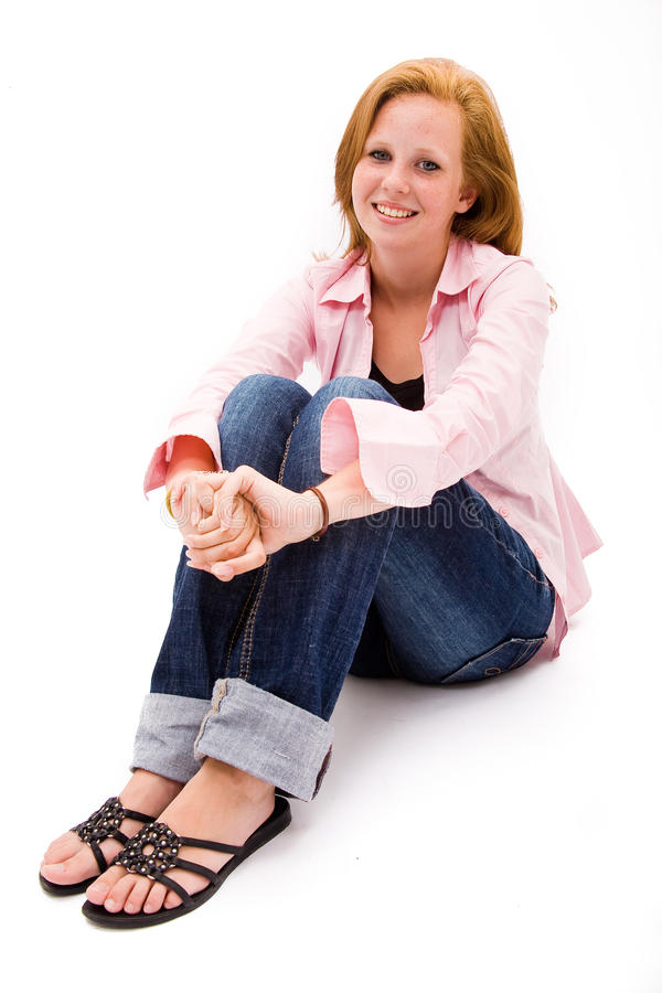 Beautiful Freckled Teen Girl Stock Photo