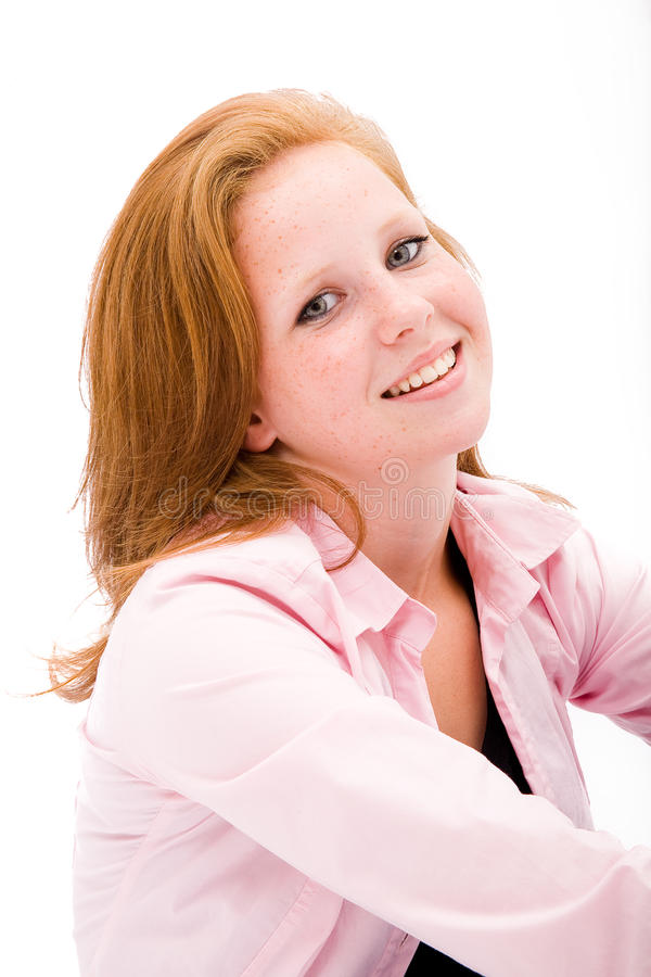 Beautiful freckled teen girl stock photography