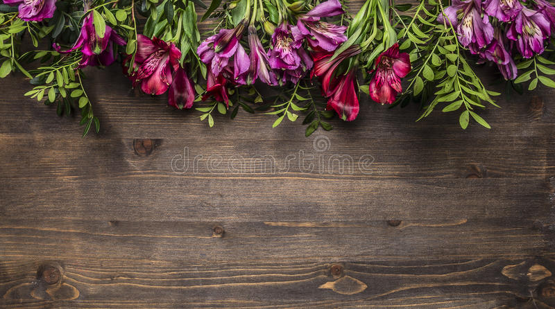 Beautiful freesya multicolored flowers with green leaves border ,place for text wooden rustic background top view royalty free stock photo