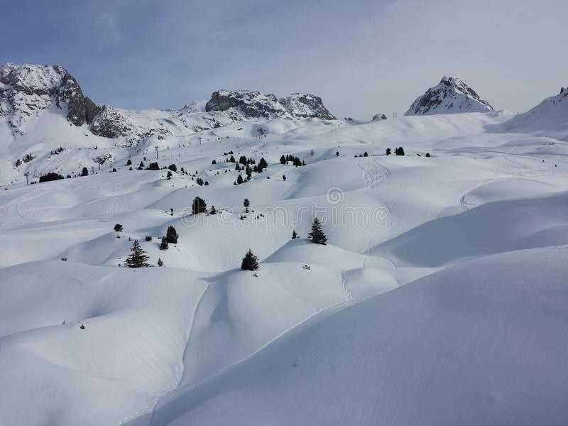 Beautiful French Alps white snow skiing nature enjoy, look March royalty free stock photo