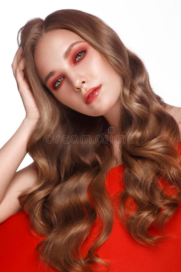 Beautiful fresh girl with perfect skin, bright red make up. Beauty face. royalty free stock image