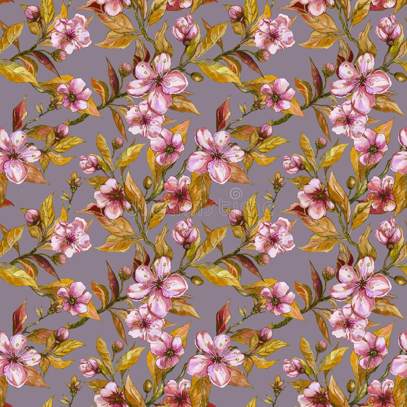 Beautiful fruit tree twigs in bloom on gray background. Pink flowers and yellow leaves. Seamless springtime floral pattern. vector illustration