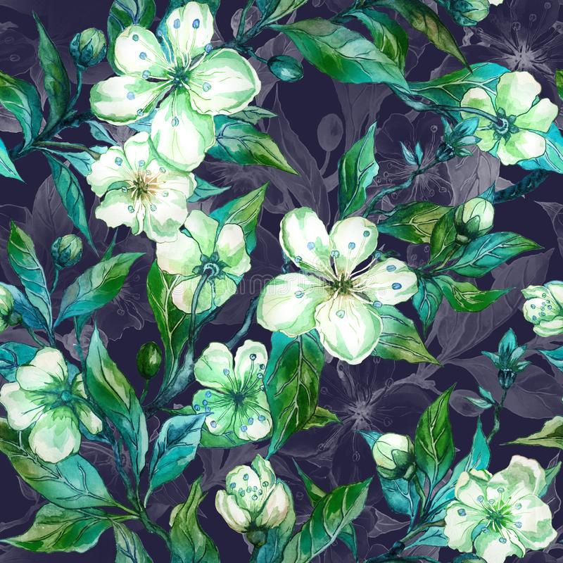 Beautiful fruit tree twigs in bloom. White and green flowers on dark gray background. Seamless spring floral pattern. vector illustration
