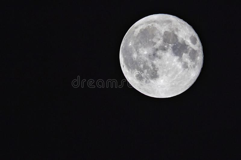 Beautiful full moon with a view of the craters to a crystal clear sky stock photography