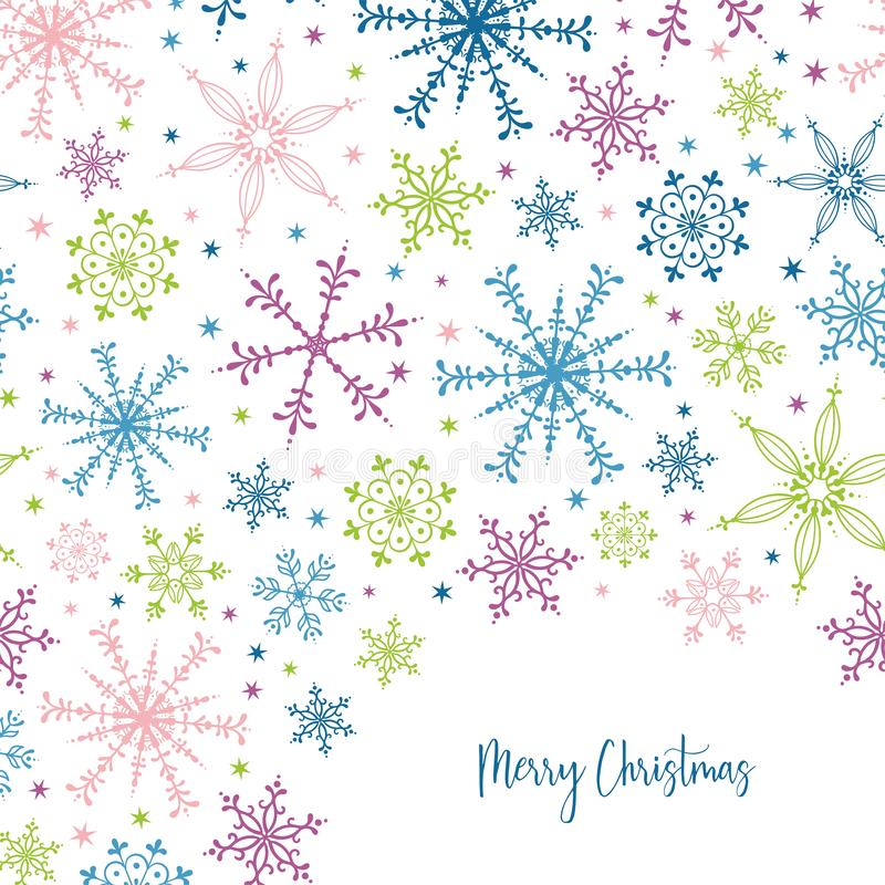 Beautiful and fun snowflake seamless pattern - hand drawn and colorful, great for invitations, banners, wallpapers - vector. Surface design stock illustration