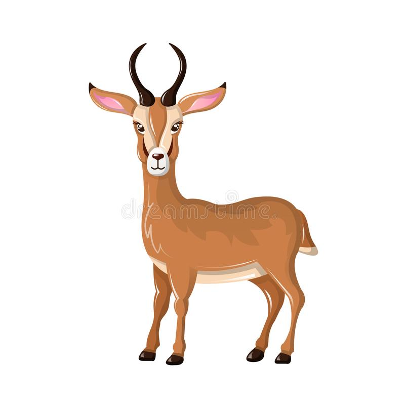 Beautiful funny cartoon antelope. Cute, fast antelope with sharp horns. vector illustration