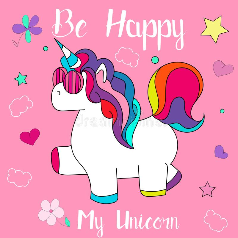 Beautiful and funny hand drawn Be happy unicorn design vector vector illustration