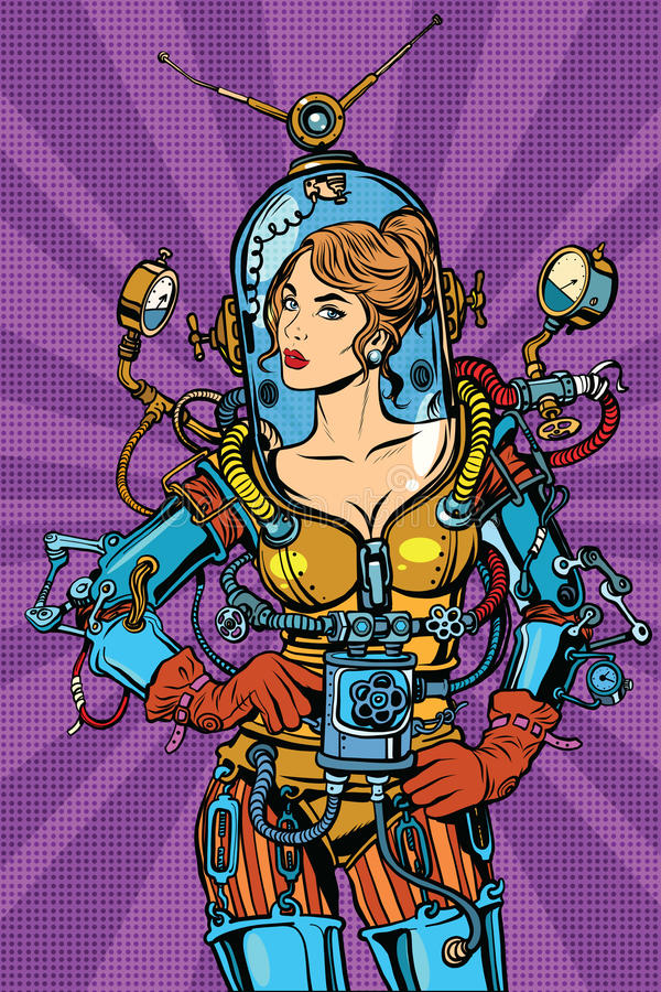Beautiful futuristic girl in a space suit vector illustration