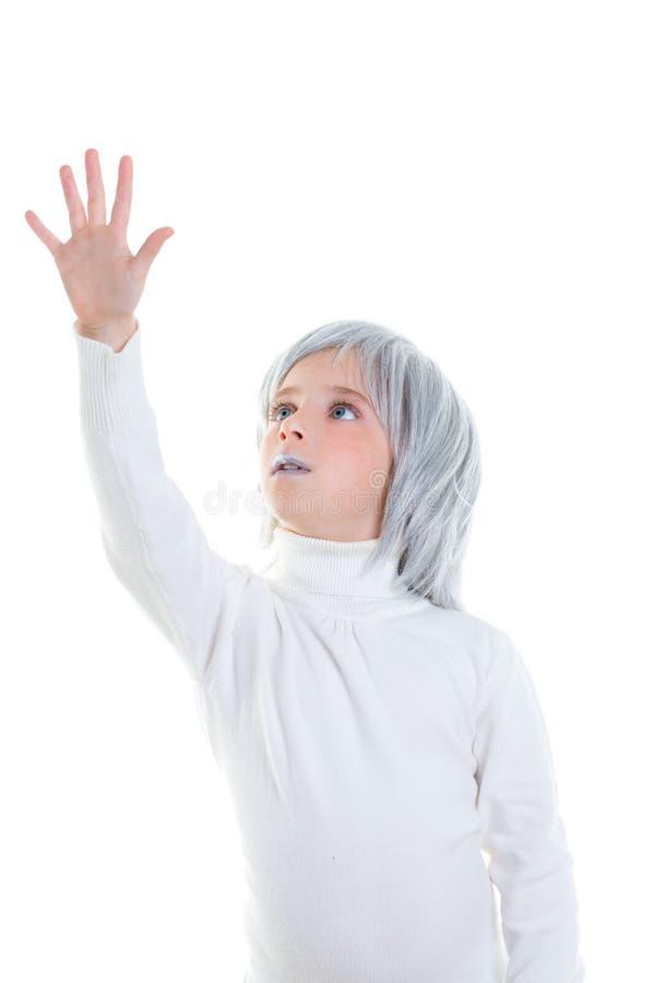 Beautiful futuristic kid girl futuristic child with gray hair stock photos