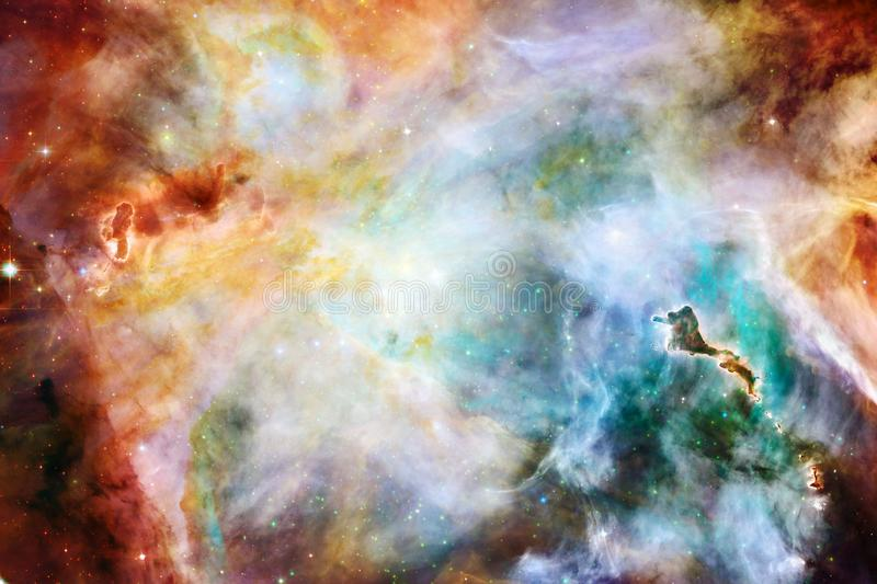 Beautiful galaxy background with nebula, stardust and bright stars stock images