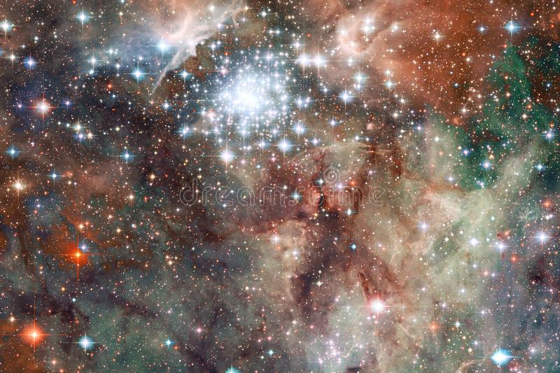 Beautiful galaxy background with nebula, stardust and bright stars. Elements of this image furnished by NASA royalty free stock photos
