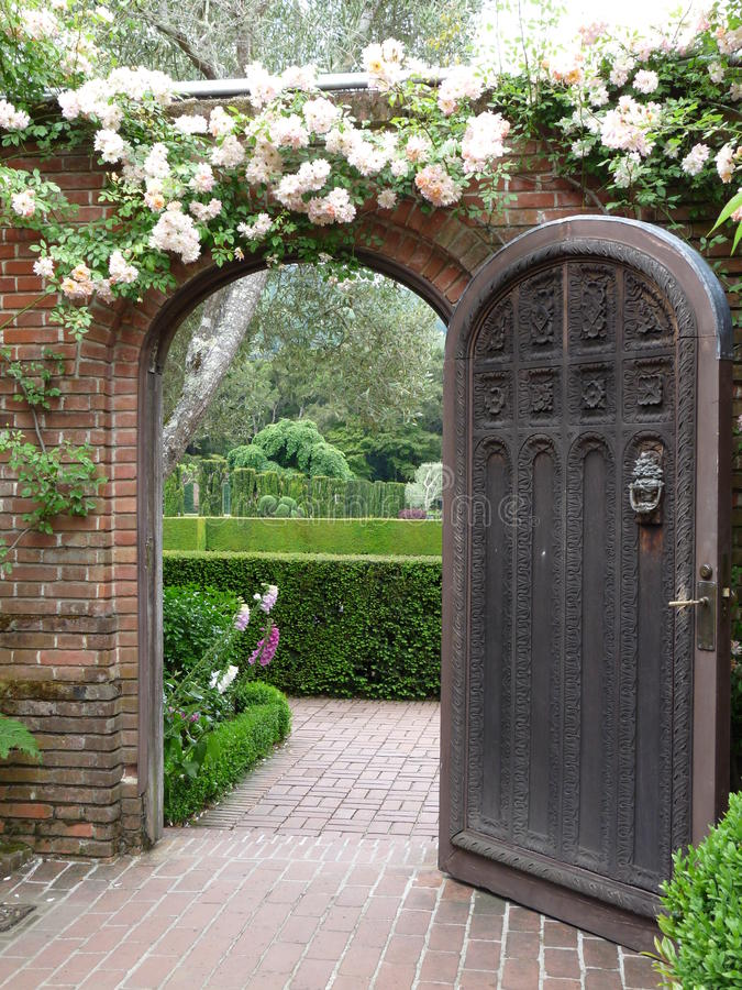 Beautiful Garden Door Stock Image Image Of Roses Pathway