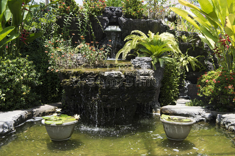 Beautiful garden with fountain and pond, Bali stock photo