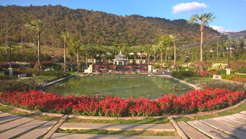 Beautiful garden at Kensington English Garden Resort, Thailand - side view. The beautiful garden at Kensington English Garden resort. A stunning place for a stock images