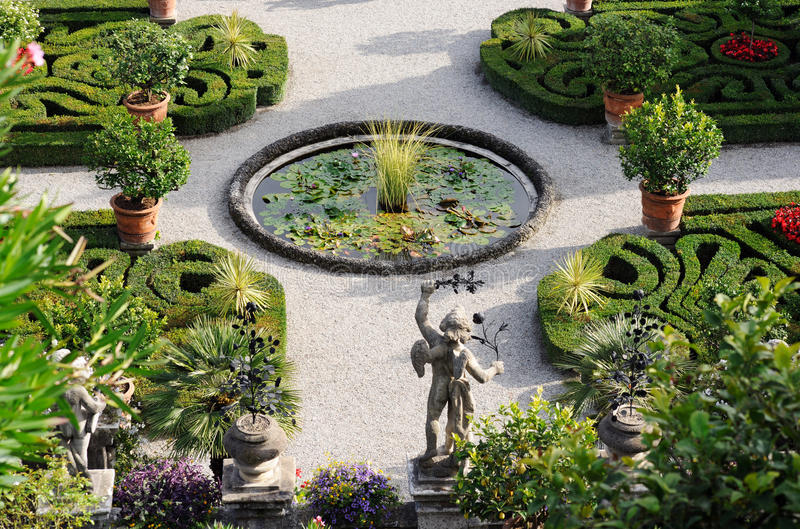 Beautiful garden on lake Maggiore. Borromean islands in Italy royalty free stock photography