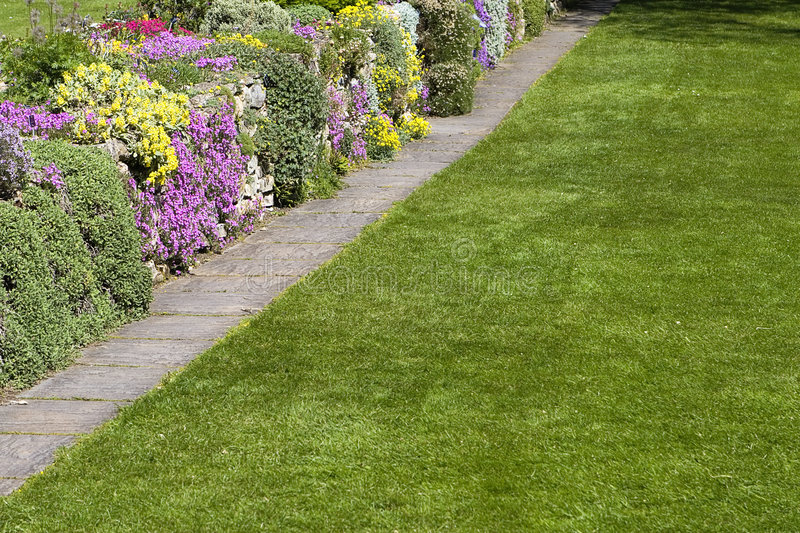 Beautiful Garden Lawn Flowers Stock Image - Image Of Line, Path
