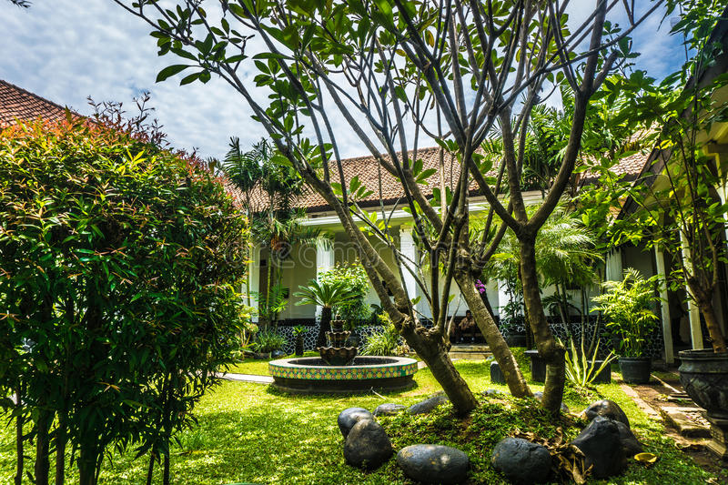 Beautiful Garden With Old Building And Fountain In Batik Museum ...