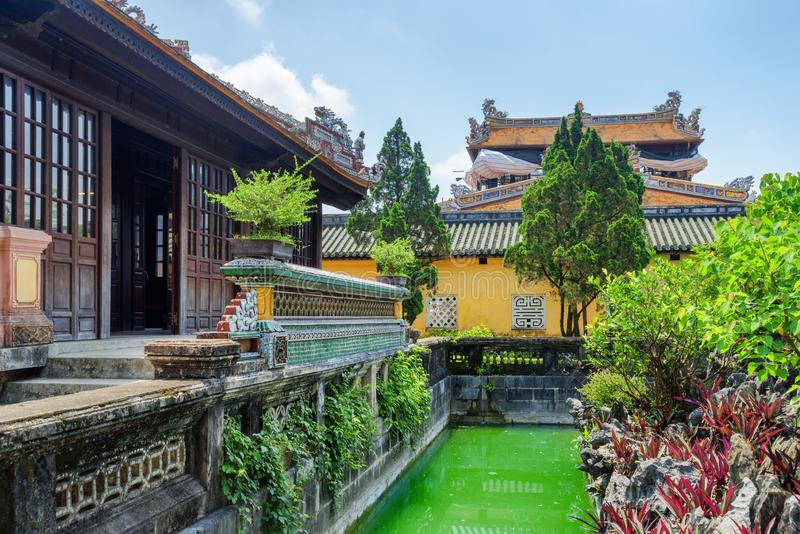 Beautiful garden and old buildings at the Purple Forbidden City stock photo