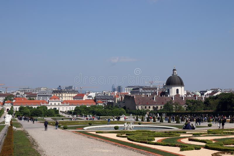 Beautiful garden and old buildings Vienna cityscape stock photography