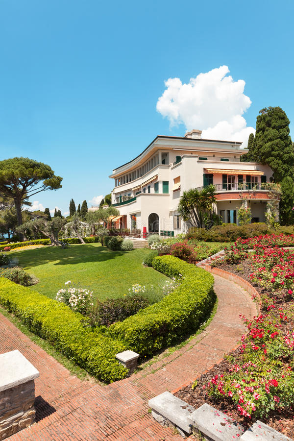 Beautiful Garden Of A Villa Stock Photo