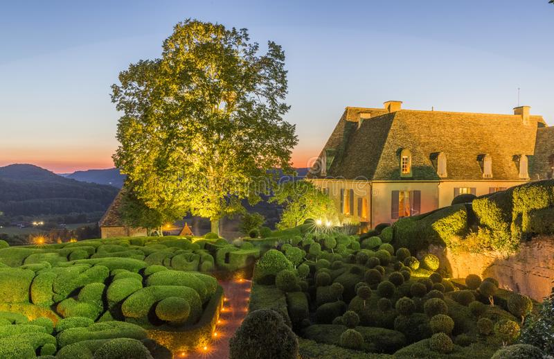 Beautiful gardens at Chateau de Marqueyssac. In France royalty free stock photography