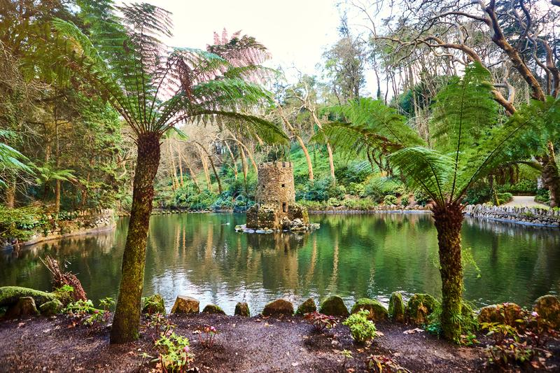 Beautiful Gardens in the Pena Palace Sintra, Lisbon, Portugal. Famous landmark. Most beautiful castles in Europe royalty free stock image