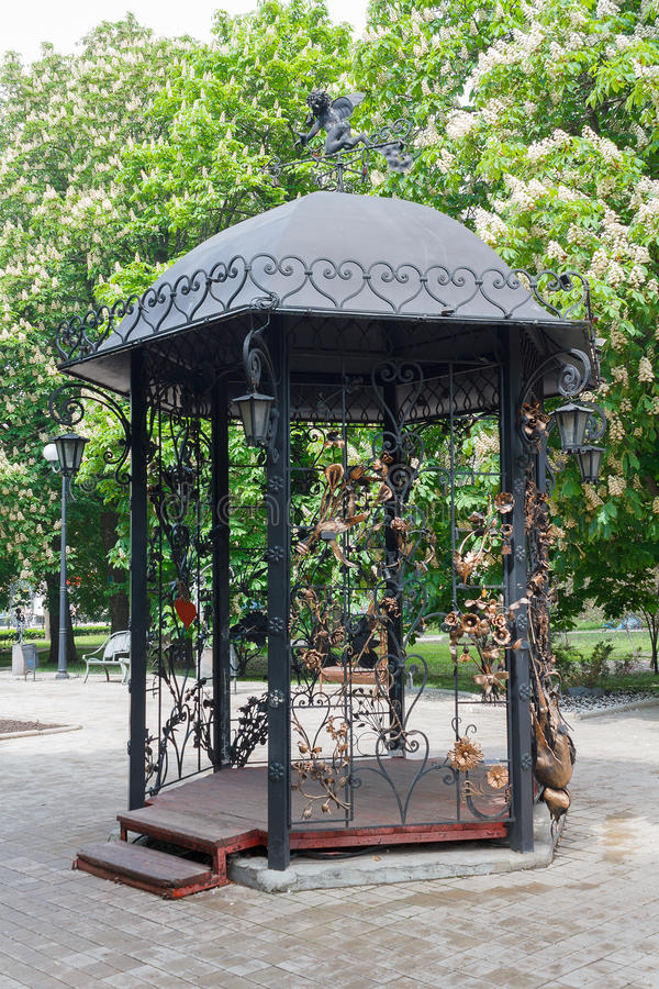 Beautiful gazebo made of forged metal. Donetsk royalty free stock photos