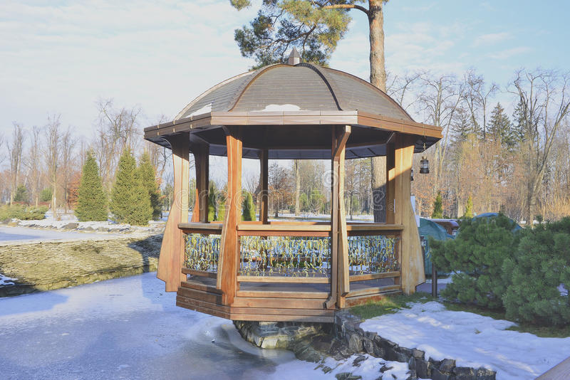 Download Beautiful Gazebo In Winter Park Stock Image