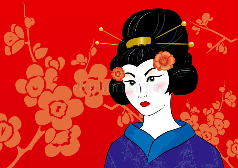 Beautiful Geisha In A Kimono Stock Photography