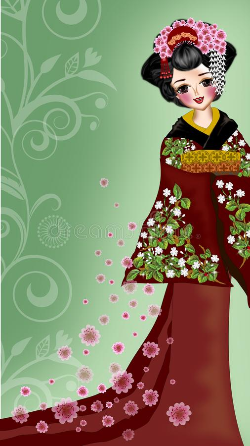 Geisha. Beautiful geisha for phone screen background illustrations