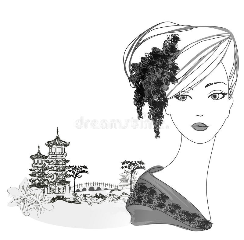Download Beautiful Geisha Portrait And Asian Landscape Stock Vector - Image: 31977246