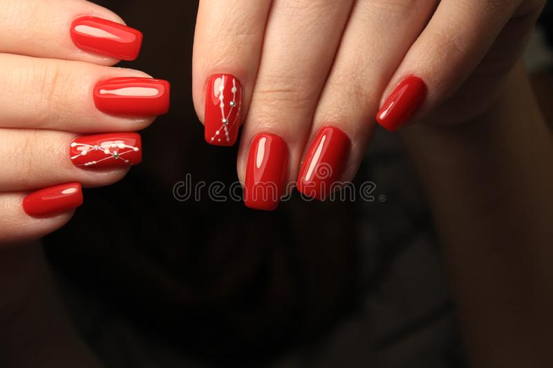 beautiful gel lacquer manicure royalty free stock photography