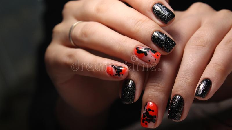 beautiful gel lacquer manicure royalty free stock image