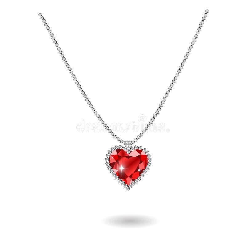 Beautiful gemstone red ruby heart. Red diamond Vector illustration stock illustration
