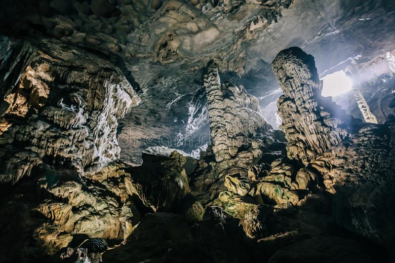 Beautiful geological formation of stalagmite in Sun Sot Cave at Ha Long Bay, Vietnam. Beautiful Sun Sot Cave at Ha Long Bay, Vietnam stock photos