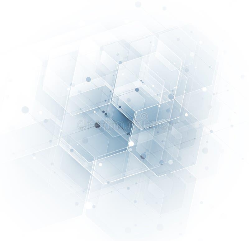 Beautiful geometric light futuristic technology background. Business structire solution stock illustration
