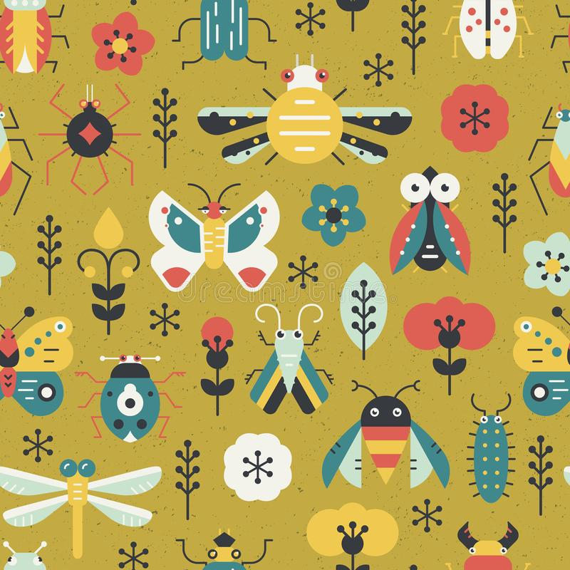 Bugs on Grass. Beautiful geometric pattern with bugs and insects. Colorful seamless texture for your design made in vector royalty free illustration