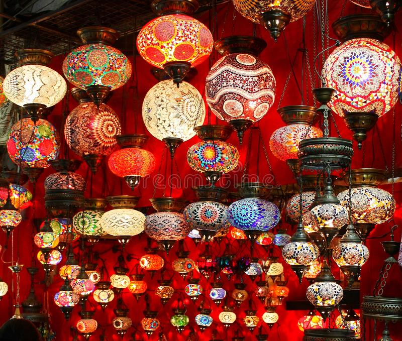 Beautiful geometric patterns on colorful turkish lamps royalty free stock photo