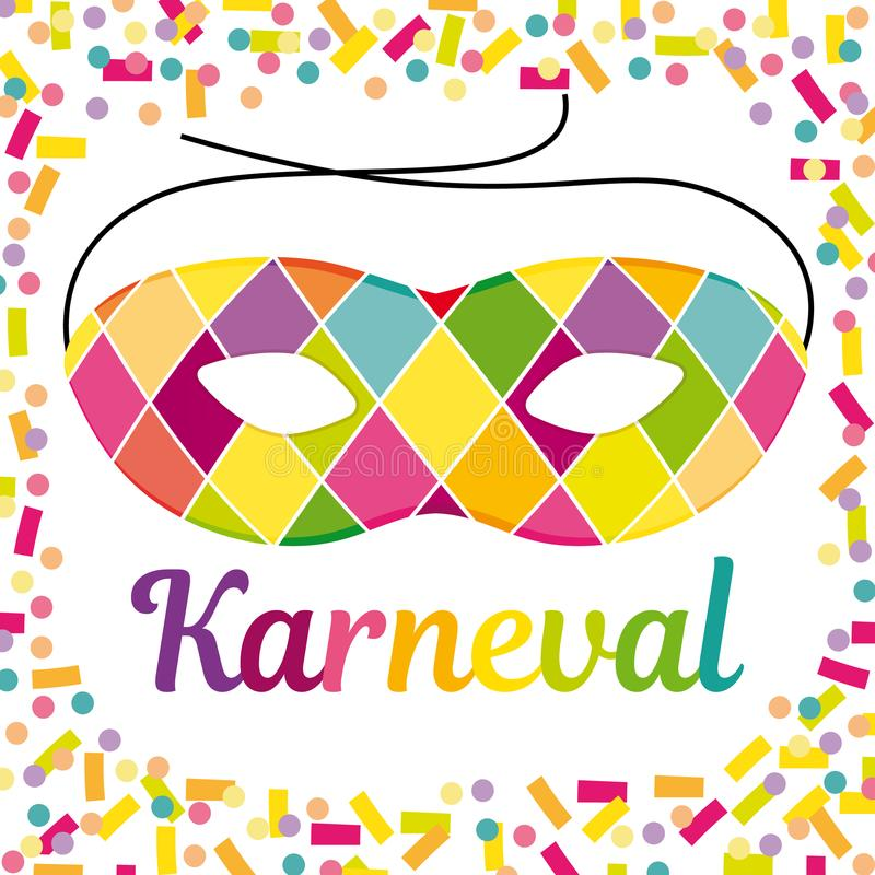 Beautiful german carnival illustration with an Harlequin mask. royalty free illustration