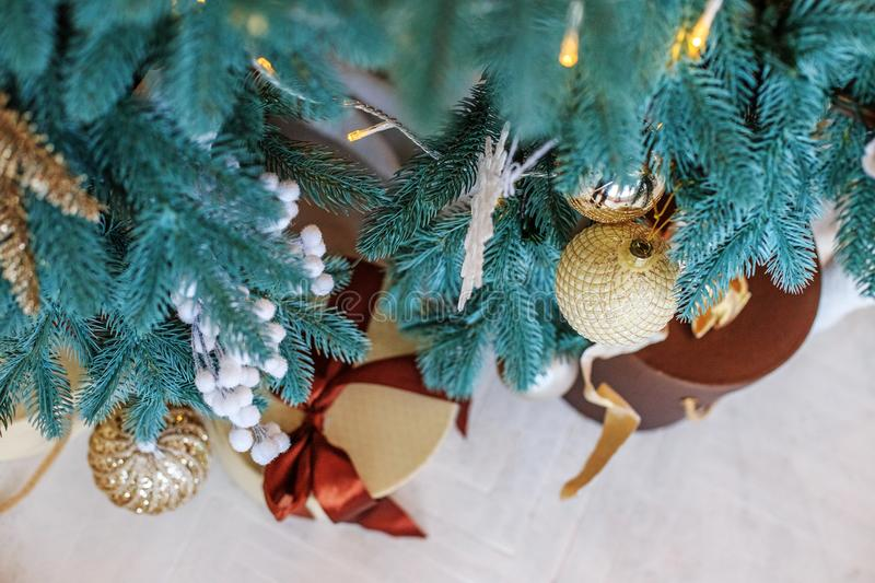 Beautiful gift box and Christmas tree. Background. New Year`s an. D Christmas concepts royalty free stock image