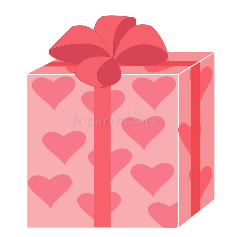 A beautiful gift. A box packed for the holiday. Packing of pink color with painted hearts. A red bow is tied on top. Vector royalty free illustration