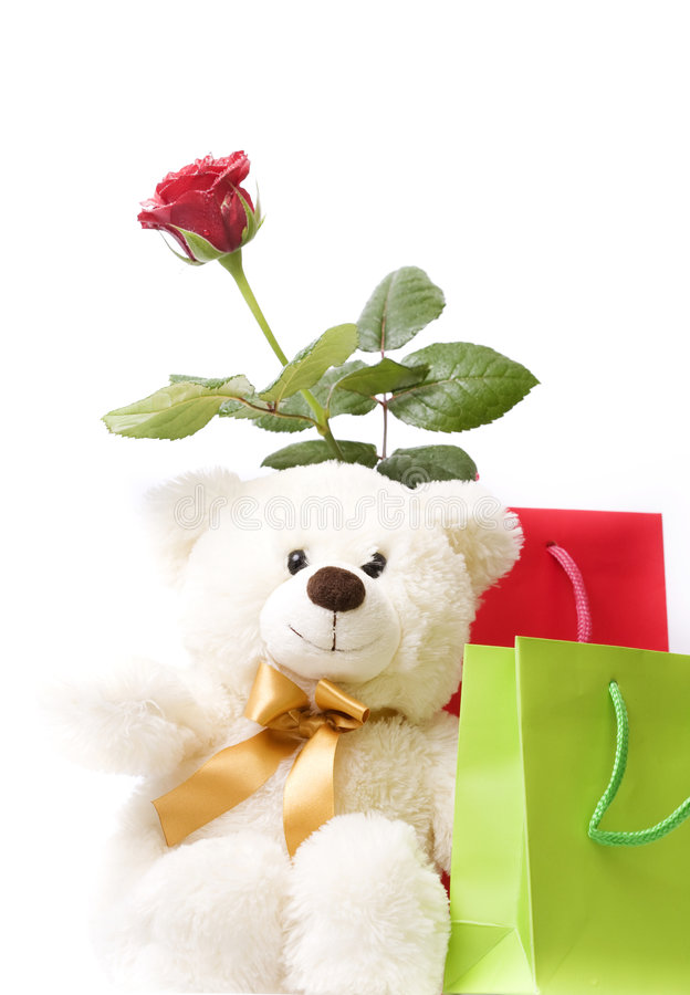 Free Beautiful Gift Box , Red Rose And Teddy Bear Stock Photo - 8835360