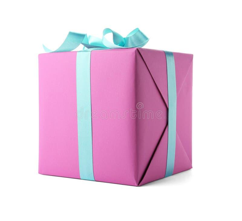 Beautiful gift box with ribbon white background stock photography