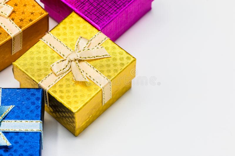 Beautiful gift box with silver ribbon on white background. royalty free stock images