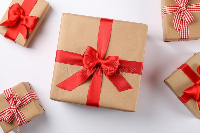 Beautiful gift boxes on white background. Top view stock photo