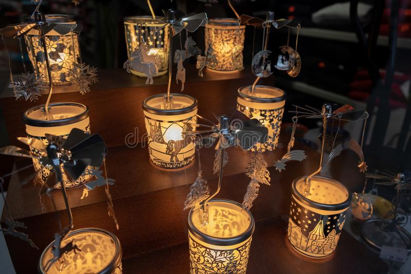 Beautiful gift christmas candle holders for sale at Krakow Christmas market. Poland royalty free stock photos